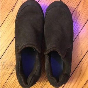 Size 5 Boys Lands End brown suede shoes EUC